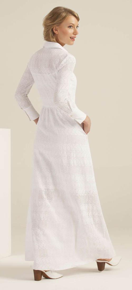 Biele madeira šaty s dlhými rukávmi