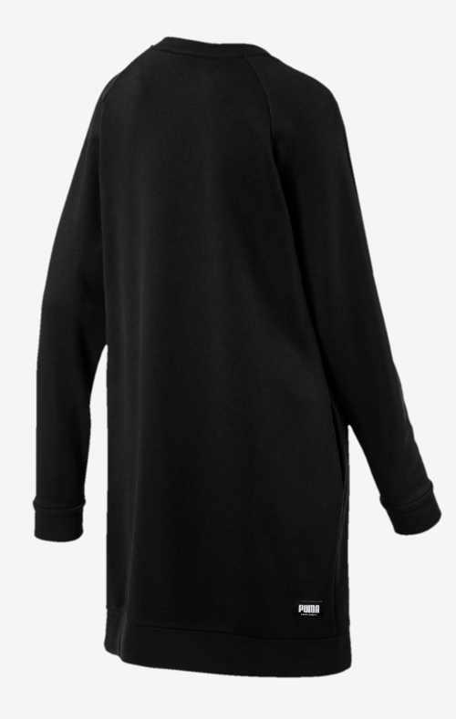 Čierne mikinové šaty bez kapucne