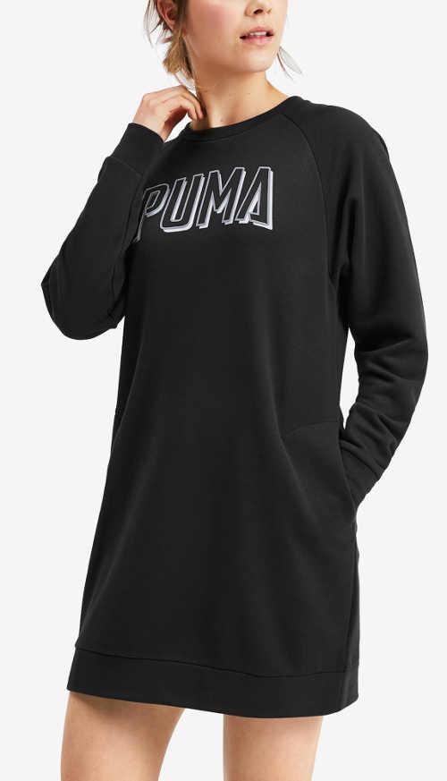 Čierne športové teplákové dámske šaty Puma