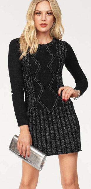 Čierno-strieborné svetrové dámske šaty