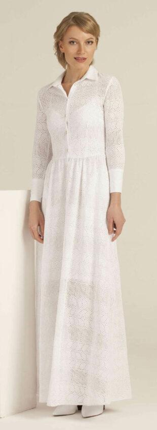 Dlhé biele košeľové šaty s golierom