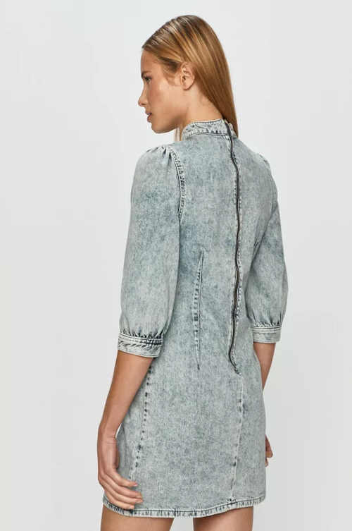 Džínsové krátke šaty so stojačikom