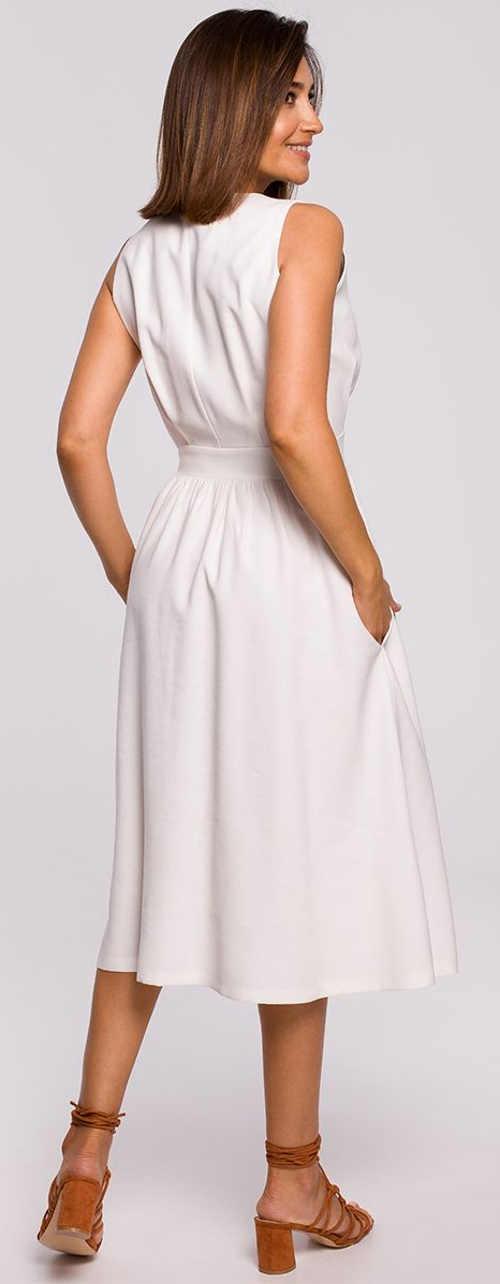 Moderné biele letné šaty s vreckami