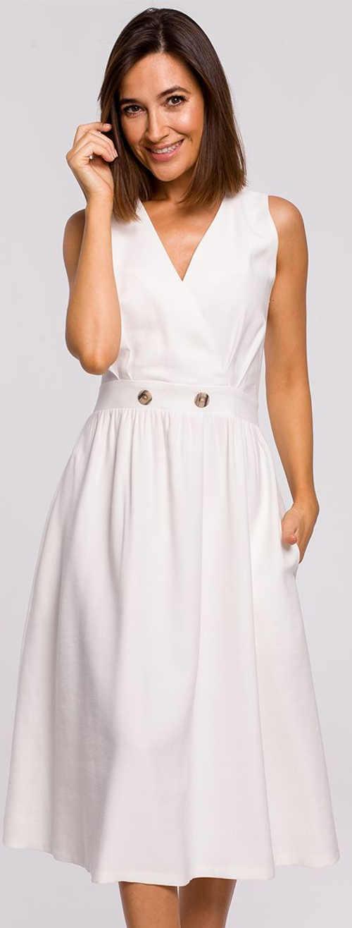 Nežné biele letné šaty s gombíkmi v páse