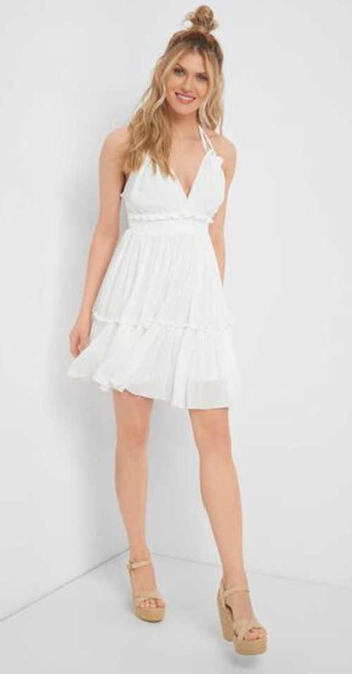 Štýlové letné šaty z viskózy so zaväzovaním za krkom
