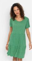 Štýlové šaty v bodkovanom potlače s naberanými rukávmi