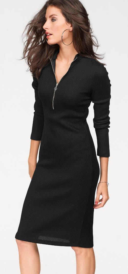Úpletové šaty s výstrihom na zips