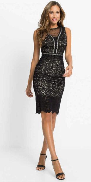 Čierne dámske elegantné šaty v lichotivom strihu z čipky