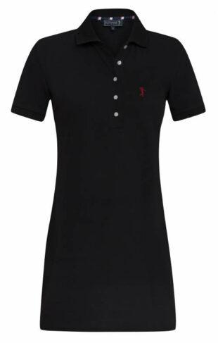 Čierne polokošilové šaty s golierom
