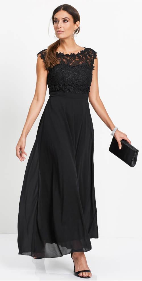 Čierne večerné šaty s čipkou