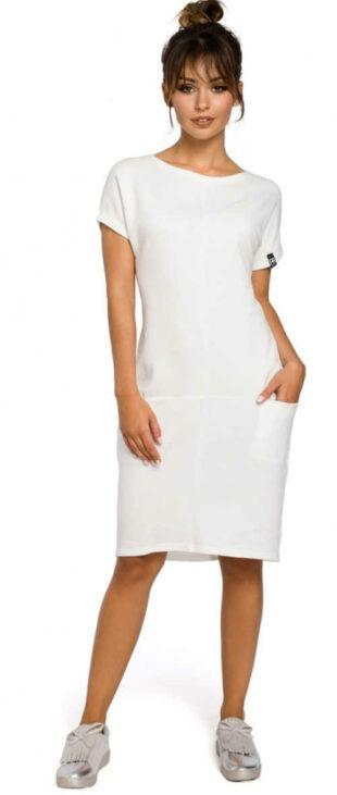 Dámske jednofarebné šaty s krátkym rukávom v elegantnom strihu