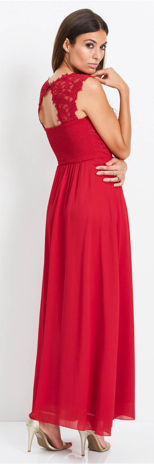 Dlhé červené plesové šaty s čipkou