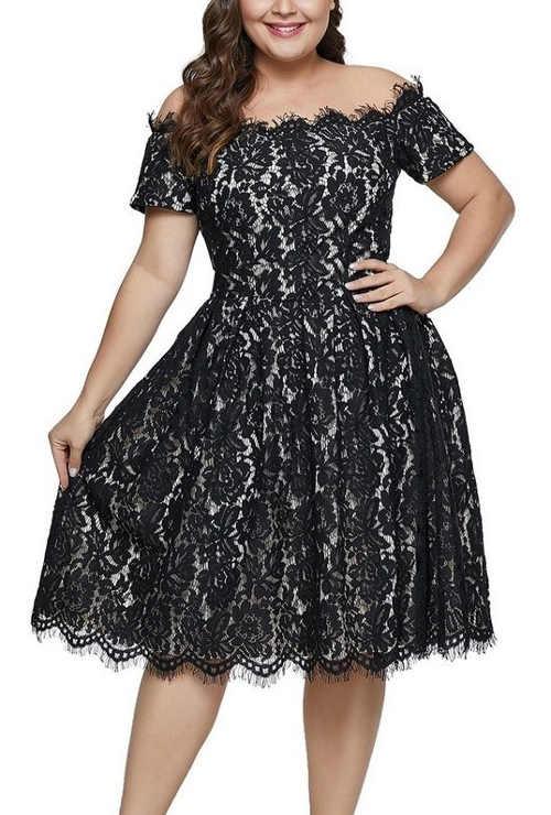Elegantné krajkové čierne šaty pre dámy s konfekciou size plus