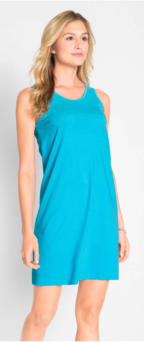Jednoduché letné tyrkysové šaty