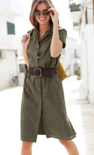 Košeľové šaty s anglickou výšivkou v príjemnej khaki farbe