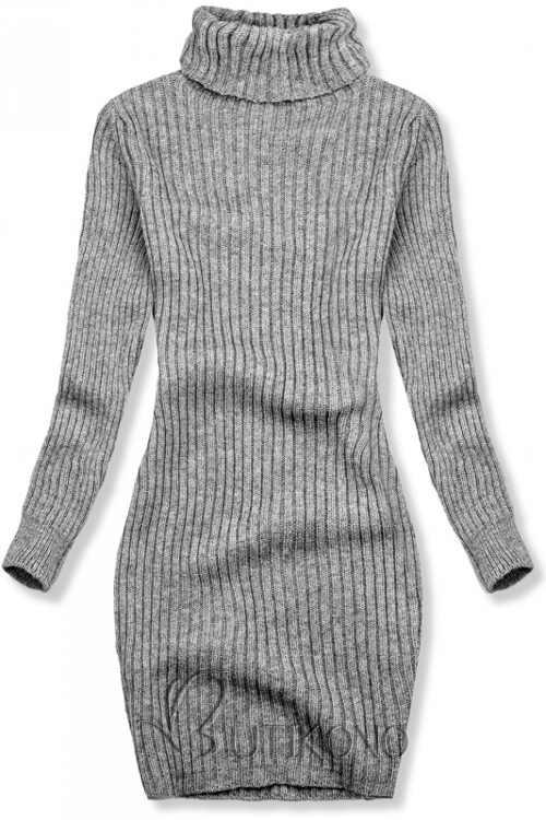 Šedé pletené zimné šaty k legínam