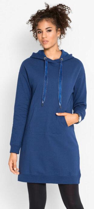 Teplé mikinové šaty s kapucňou