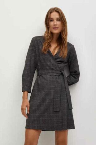 Zavinovacie šaty s opaskom v modernom károvanom vzore
