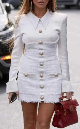 Biele zmyselné mini šaty s golierom