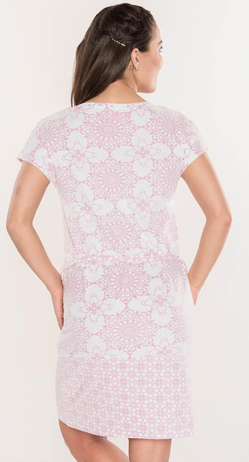 Bielo ružové letné mandala šaty