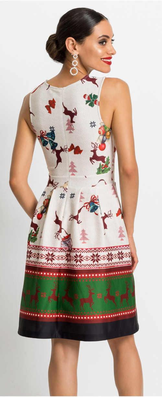 Dámske šaty ku kolenám s vianočným potlačou