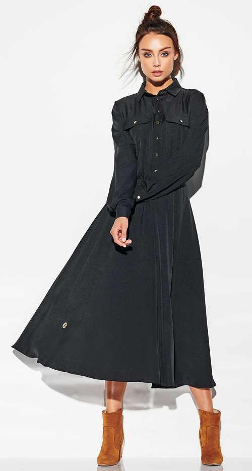 Dlhé čierne dámske šaty s gombíkmi a náprsnými vreckami
