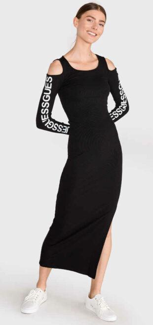 Dlhé čierne šaty Guess s prestrihmi na ramenách
