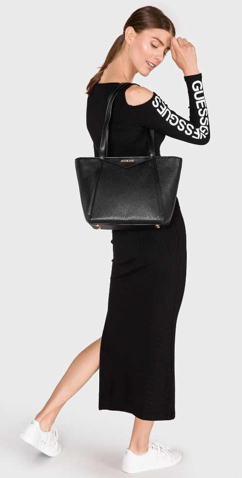 Dlhé úpletové čierne šaty Guess