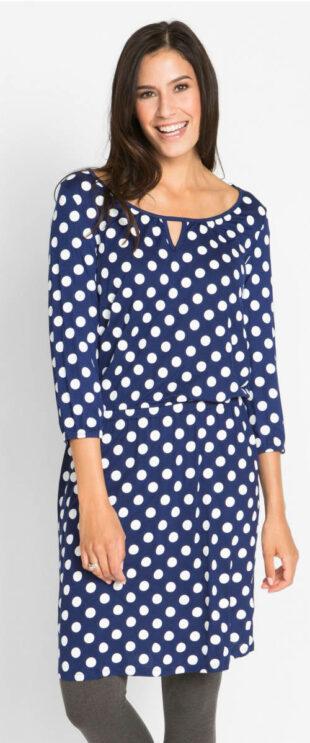 Lacné bodkované šaty s otvorom v páse
