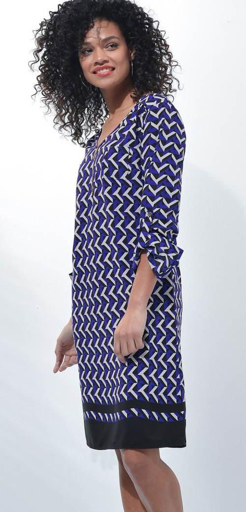 Modré dámske šaty s rukávmi pre ohrnutie