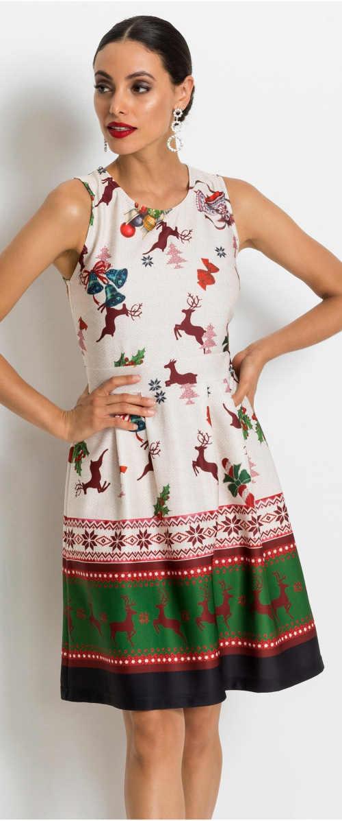 Vianočné dámske šaty bez rukávov
