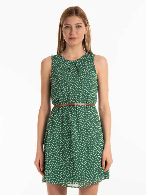 Zelené šaty s kvetinovým vzorom