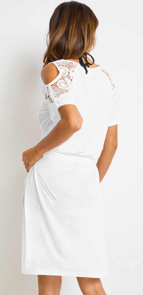 Biele letné šaty s prieramkami