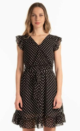 Dámske bodkované letné šifónové šaty v krátkej dĺžke
