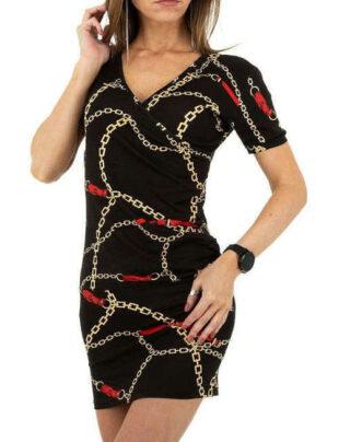Dámske elastické čierne mini šaty s modernou potlačou