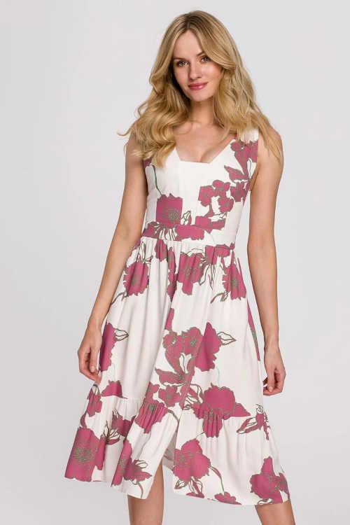 Krémové kvetinové midi šaty v modernom strihu