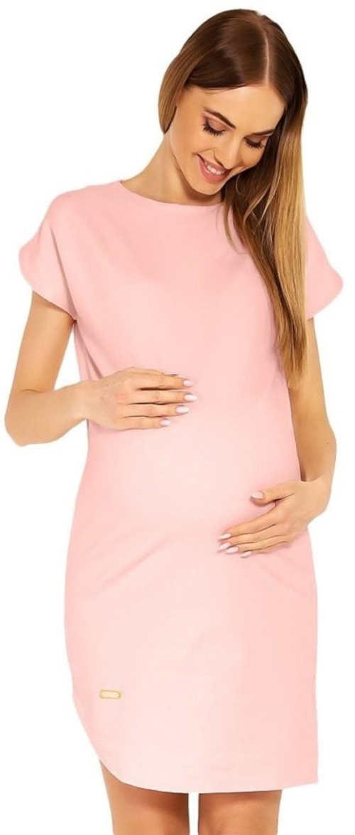 Ružové bavlnené tehotenské šaty na leto