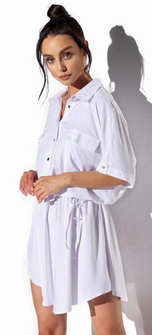 Biele dámske košeľové šaty v elegantnom a nadčasovom strihu