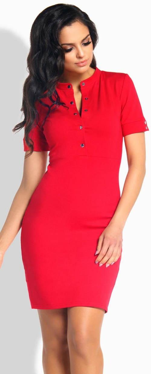Červené letné šaty s krátkymi rukávmi