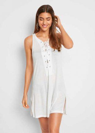 Dámske biele plážové šaty s efektným šnurovaním vpredu