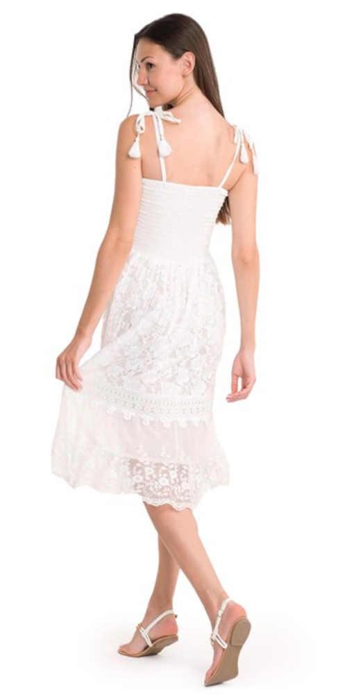 Dámske dlhšie letné šaty v bielej farbe