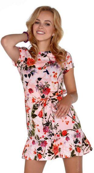 Dámske letné kvetinové šaty s mierne nariaseným volánom