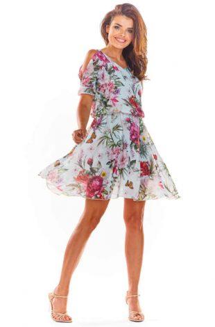 Krátke kvetinové šaty s prieramkami