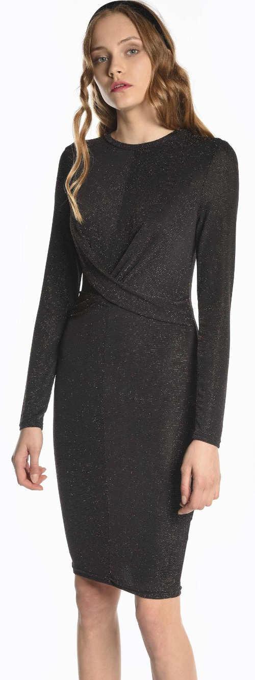 Lacné čierne formálne šaty s dlhým rukávom