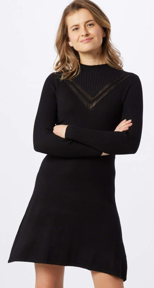 Lacné čierne pletené dámske šaty s dlhým rukávom