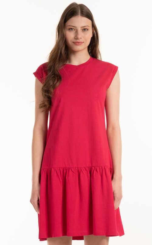 Moderné šaty zdobené volánom z pohodlného materiálu