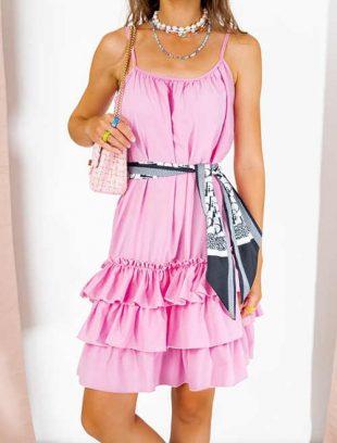 Ružové voľné šaty bez ramienok s volánmi