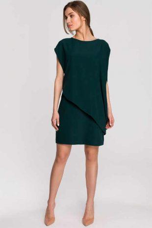 Tmavozelené šaty v asymetrickom uhladenom strihu