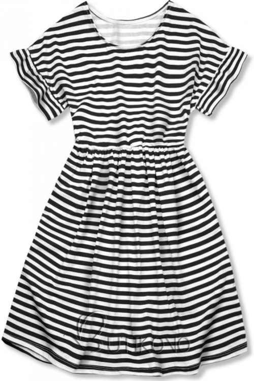 Voľné dámske bavlnené šaty s moderným pruhovaným vzorom