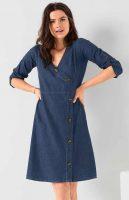 Zavinovacie džínsové dámske šaty